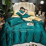 juego de funda de edredón de 3 piezas,Lave la seda de cuatro piezas de la seda de hielo de cuatro piezas, la ropa de cama fresca es el dormitorio del estudiante de la manga, cuatro sets-mi_Cama de 2.