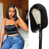10 Inch Short Bob Wig Human Hair 4x4 Glueless Straight Bob Lace Front Wigs Human Hair Brazilian Virgin Lace Closure wigs for Black Women Natural Color
