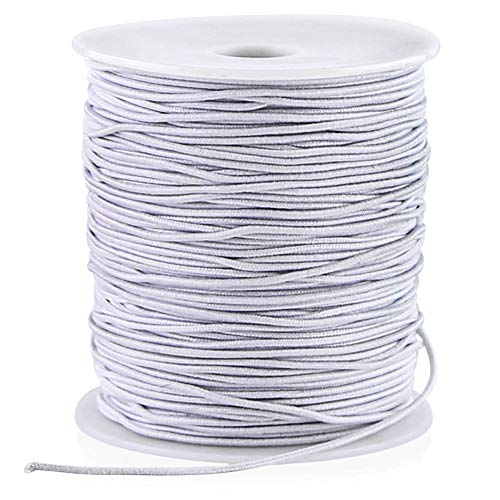VGOODALL 100 Yards White Elastic String Beading Cord Stretchy String for Bracelets, Necklace, Jewelry Making and Crafts,1MM