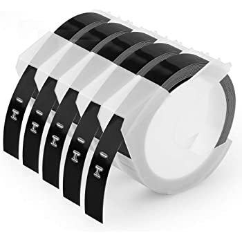 Oozmas Compatible Label Tape Replacement for Dymo Embossing Tape 3/8 Inch 3D Plastic Labels 1741670 White on Black for Organizer Xpress Pro 12965 DYM12966 Office Mate II, 5-Pack