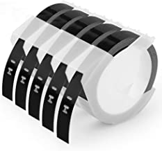 Embossing Label Tape 3/8 Inch Compatible Dymo 3D Plastic Labels 1741670 White on Black for Organizer Xpress Pro 12965 DYM12966 Office Mate II, 5-Pack