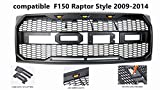 Matte Black Front Grill Hood Grille compatible with Ford F150 Raptor Style 2009-2014, for Replaceable Letters fr Letters, 3 Amber Led Lights