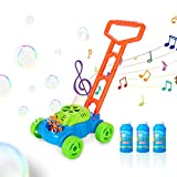 Maodou Push Bubble Lawn Mower, Bubble Lawn Mower for Toddlers with 3 Bottles of Bubble Water, Stable Body and Rod