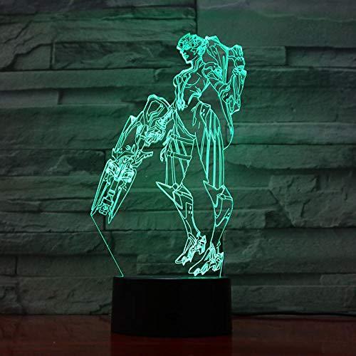 3D Illusion Lampe Led Lichtspiel Widowmaker Figure Night Light Für Die Farbsteuerung Des Spielzimmers Einzigartiges Geschenk Für Die Schreibtisch Des Gamer Touch Sensor-7 Farben, Touch-Steuerung