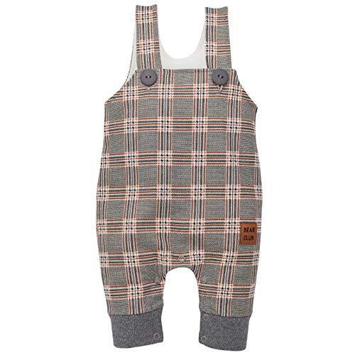 Pinokio - Bears Club - Bébé Garçon Unisex Salopette Combinaisons Pantalon à Bretelles Baby Barboteuses 100% Coton Damier Gris 56 62 68 74 80 cm (56, Damier)