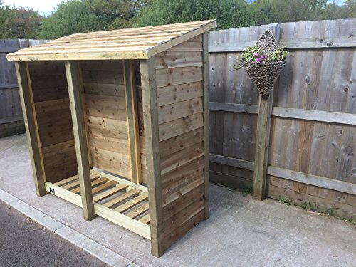 GIDLEIGH 6ft TALL WOODEN LOG STORE/GARDEN STORAGE, HEAVY DUTY, HAND MADE, PRESSURE TREATED