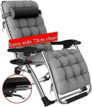 High-quality recliner Large Rocking Garden Chair With Zero Gravity Seat Folding Recliner Outdoor Patio Deck Adjustable Sunbed Support 200 Kg (Color : Silver)