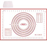 Stuoia di Rolling della pasticceria del silicone, Pasta di silicone al calore impasto farina Mat Table Pad design bilancia da cucina strumenti di cottura (Rosso)