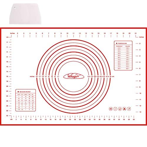 Silikonmatte Silikon Backmatte Baking Mat BPA frei Nonstick mit Messungen Fondant Teig Gebäck Backmatte, 60 * 40cm (Rot +Teigschneider)