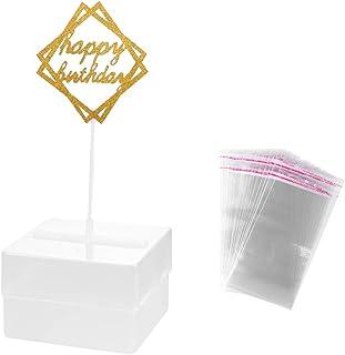UPKOCH Cake Money Box Money Pulling Cake Making Mold with Happy Birthday Topper Picks Birthday Party Favors