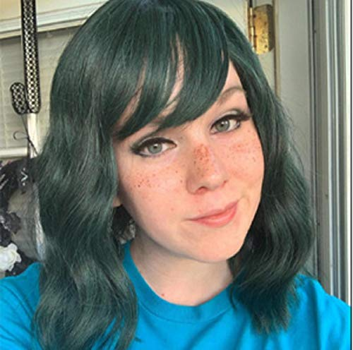 Short Bob Wig with Bangs Wavy Synthetic Wig for Women Green 14 Inch