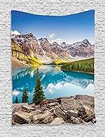 Bigleader風景のタペストリー、静かな湖と岩と空のある山の風景ドリームライフプリント創造的な家の装飾壁掛けタペストリー150x100cm