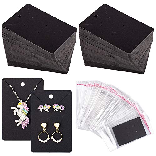 Whaline 150 Pcs Necklace Earring Display Card with 200 Self-Seal Bags, Earring Holder Cards Blank Kraft Paper Tags for DIY Ear Studs, Earrings and Jewelry Display, 3.5 x 2.4 Inch (Black)