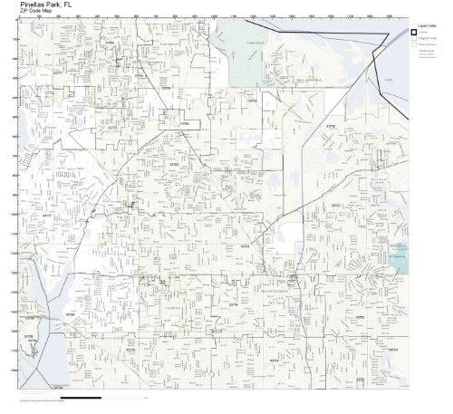 ZIP Code Wall Map of Pinellas Park, FL ZIP Code Map Not Laminated