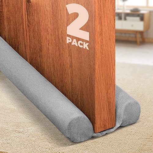 Holikme 2 Pack Twin Door Draft Stopper Weather Stripping Noise Blocker Window Breeze Blocker Adjustable Door Sweeps 34inch Grey