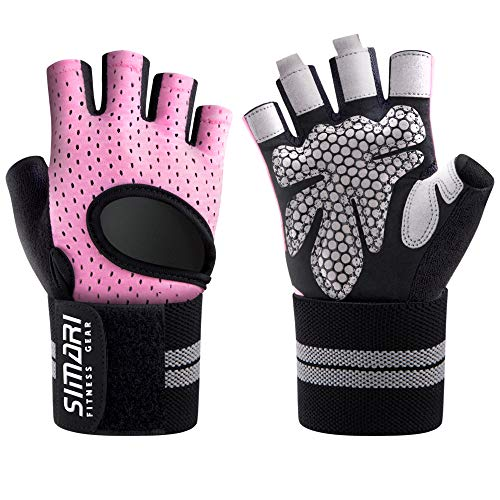 SIMARI Workout Glovesfor Women Men,Training Gloves with Wrist Support for Fitness Exercise Weight Lifting Gym Crossfit,Made of Microfiber and Lycra SMRG902(Pink M)
