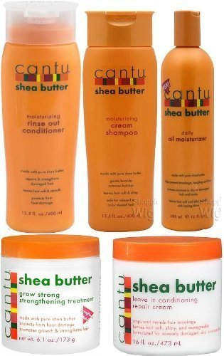 Cantu Shea Butter 5pcs Set (Shampoo, Conditioner, Grow Strong Strengthening Treatment, Oil Moisturizer, and Leave in Conditioner) Plus 1 Free of Apple EYE Pencil Color: Grey by Cantu Shea Butter