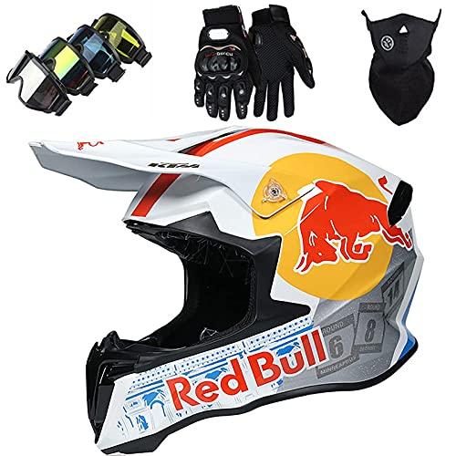 Motorradhelm Kinder Cross Helm Erwachsene Fahrradhelm Motocross Helm Set Unisex Fullface Downhill Quad Enduro ATV Mountainbike Motorrad Schutzhelm MJH-01 Red Bull - Schwarz/Weiss - Größe: 53~60 cm