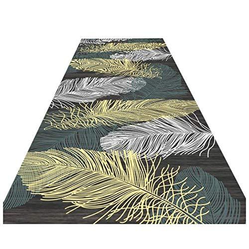 Alfombra premium para pasillo, plumas de colores, diseño de bordes, parte trasera...