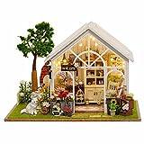 Oshide Puppenhaus Süß Blumenladen DIY House mit Licht Musik als Kinder Geschenk