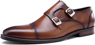Rui Landed Premium Leather Oxfords for Men Monk Strap Low Block Heel Captoe (Color : Brown, Size : 7.5 UK)