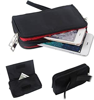 DFV mobile - Multipurpose Horizontal Belt Case with Zip Closure and Hand Strap for Manta MSP4008, Smartphone MSP4008 - Bla...