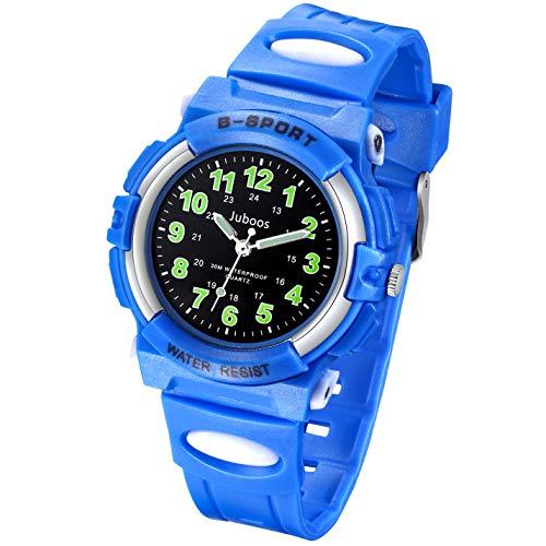 Juboos Kinderuhr Jungen Mädchen Analog Quartz Uhr mit Armbanduhr Kautschuk Wasserdicht Outdoor Sports Uhren-JU-001 (Schwarz Little Blau)