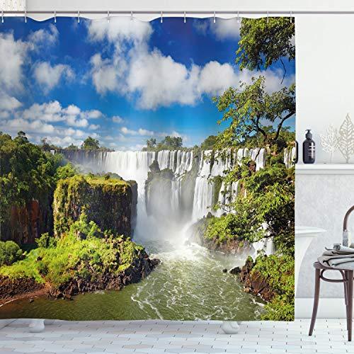 ABAKUHAUS Landschaft Duschvorhang, Agentinean Wasserfall, Bakterie Schimmel Resistent inkl. 12 Haken Waschbar Stielvoller Digitaldruck, 175 x 200 cm, Multicolor