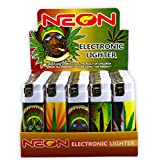 Rasta Neon Electronic Disposable Lighters, Wholesale Pack Lot Assorted Lighter (50)