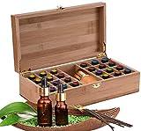 LEAMALLS 25 Trous Boîte à Huile Essentielle Boîte Rangement, d'Huile Aromathérapie de Stockage Organisateur Voyage et Présentation Organisateur Voyage