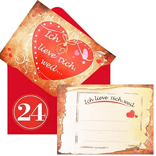 HOWAF Adventskalender zum Befüllen mit 24 Karten Ich Liebe Dich, Weil in 24 roten Umschlägen, Geschenke für Männer, Frauen, Paare, Verliebte, mit 24 Zahlenaufkleber