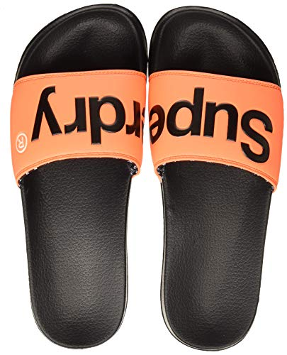 Superdry Herren Dusch-& Badeschuhe SUPERDRY POOL SLIDE, Mehrfarbig (Black/Hazard Orange/Optic X2t), 44/45 EU