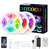 VITCOCO 15M Tira LED Bluetooth, LED Strip 5050 RGB de Impermeable Flexibles Multicolor Strip Con Mando a Distancia y Adaptador Corriente Para TV/Fiestas