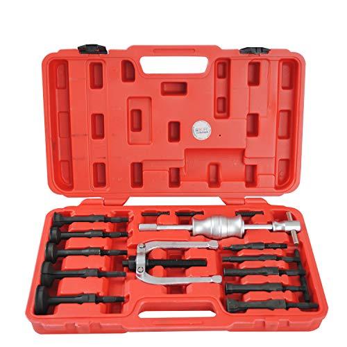 CCLIFE 16 tlg Innenabzieher Lager Werkzeug Satz Grundloch Innenlager Radlager Auszieher Abzieher Set mit Gleithammer 8-58mm
