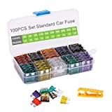 Car Fuses 100pcs Assorted Standard Blade Fuse Set 2A 3A 5A 7.5A 10A 15A 20A 25A 30A 35A, OUHL Auto Truck Car Fuses Kit Boat SUV Automotive Replacement Fuse, Puller Included