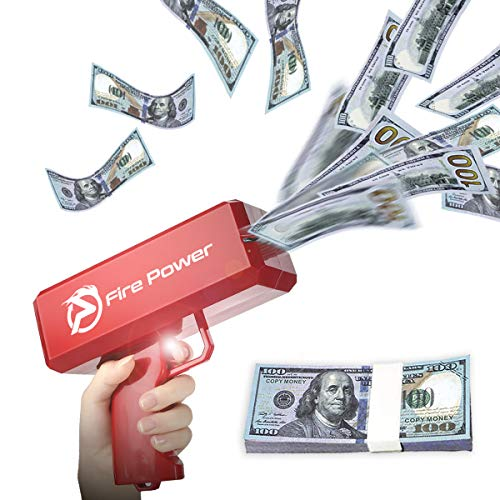 UNKENBO Money Gun Shooter - Prop Guns for Movies That Look Real , Cash Gun Make it Rain with Play Money 100 Dollar Bills ( Red )