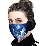 JUSHINI 1 Stück Schmetterlings Druck Mundschutz Mit Ohrenschützern Erwachsene Winter Warmes...