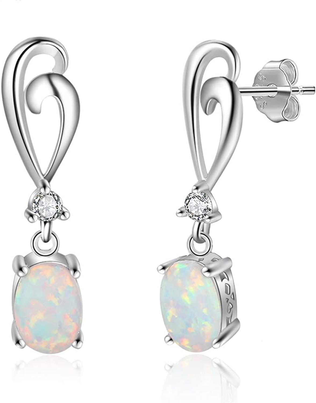 925 Sterling Silver Drop Earrings for Women Created Oval White Opal Earrings with Zirconia Female Jewelry Gift