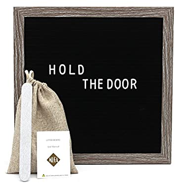 Muga Changeable Letter Board 12x12 inches - Felt Letter Board include 290 Letters, Numbers & Symbols, with Free Canvas Bag & MDF Frame (Black)