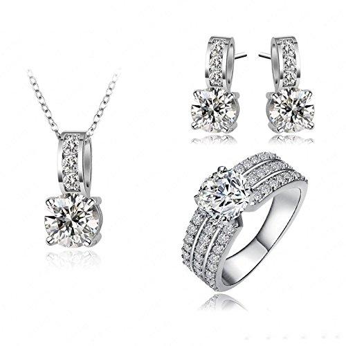 ANAZOZ Damen Schmuckset Ohrringe Ring Halskette mit Anhänger, 18k Rosegold Vergoldet Zirkonia Hochzeitsschmuck für Frauen mit Geschenkbox Weißgold Gr. 59 (18.8)
