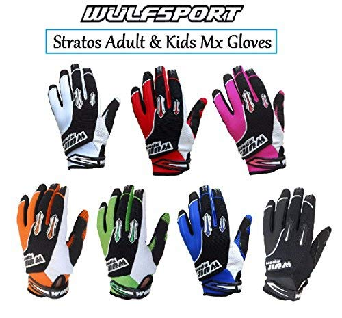 WULFSPORT STRATOS MOTORBIKE ADULT & KIDS MX GLOVES Motocross Sports Off Road Trials Enduro Quad Kart Dirt Bike Cycle ATV MTB BMX Race Adult & Junior Gloves (Black,2XS)