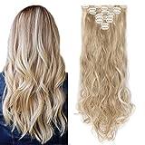 SEGO Rajout Cheveux Syntetique a Clip Extension pas Cher Boucle Longue - 60 cm Marron Sandy Mèche Blond Blanchi - [8 Piece 18 Clips] Clip in Hair