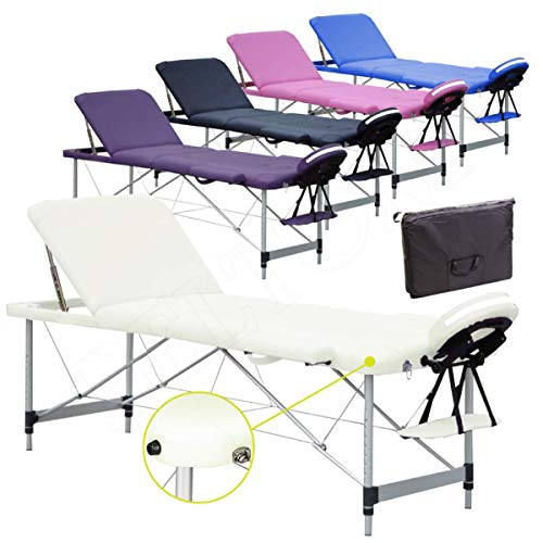 Lettino per Massaggi 3 Zone Alluminio 195x70 Cm Portatile Pieghevole Angoli Arrotondati Rinforzati Panna