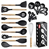 Kitchen Utensils Set, 21 Wood and Silicone Cooking Utensil Set, Non-Stick and Heat Resistant Kitchen...