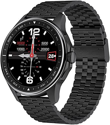 Reloj inteligente con monitor de sueño relojes inteligentes para hombres y mujeres 1.3 pulgadas pantalla táctil completa IP68 impermeable podómetro - acero negro