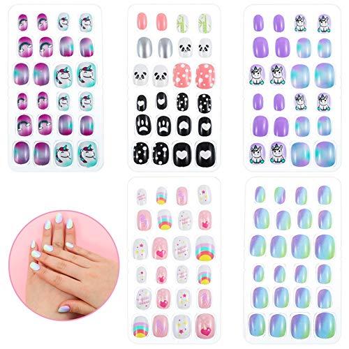 Xinzistar 120 Stück Nägel Zum Aufkleben für Kinder, Selbstklebende Künstliche Fingernägel Set, False Nail Set Künstliche Nail Tips Geschenk für Mädchen Nägel Geschenk