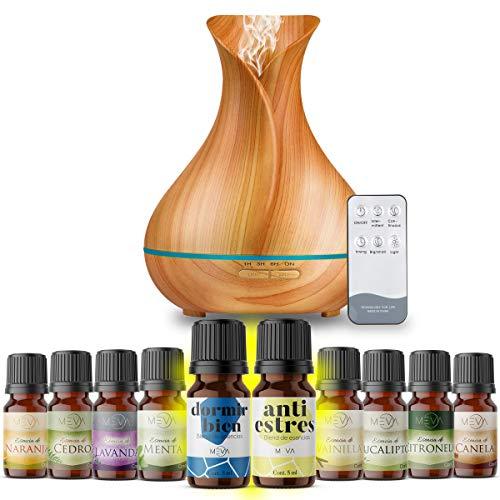 MEVA DIFUSOR de Aceite Aromas Esencial aromaterapia con 10 esencias de Regalo, ULTRASONICO,humificador de Aceite Esencial (Color Bamboo)