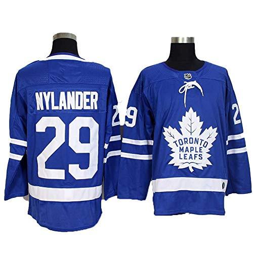 HYQ William Nylander # 29 Toronto Maple Leafs Eishockey Trikots Mit Logo/Anzahl, Männer Sweatshirts Breath Langarm-T-Shirt (M-XXXL),Blau,XXL