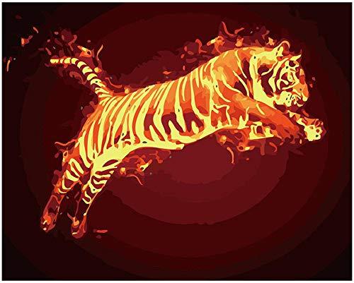 GYUGSD DIY Pintura por Números, DIY Pintura Al Óleo Digital sobre Lienzo Regalo Tigre 16X20 Pulgadas Sin Marco