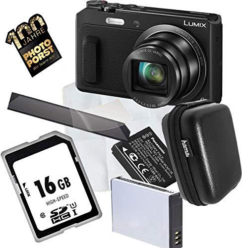 Panasonic LUMIX DMC-TZ58EG-K Travellerzoom Kamera (16 Megapixel, 20x Opt. Zoom, 3-Zoll LCD-Display, Full HD, WiFi, 24 mm Weitwinkel-Objektiv) schwarz, 1A Photo PORST Großes Angebot